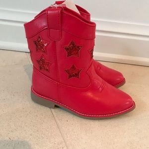 New GYMBOREE Red Sparkle Star Cowboy Boots 9 9T